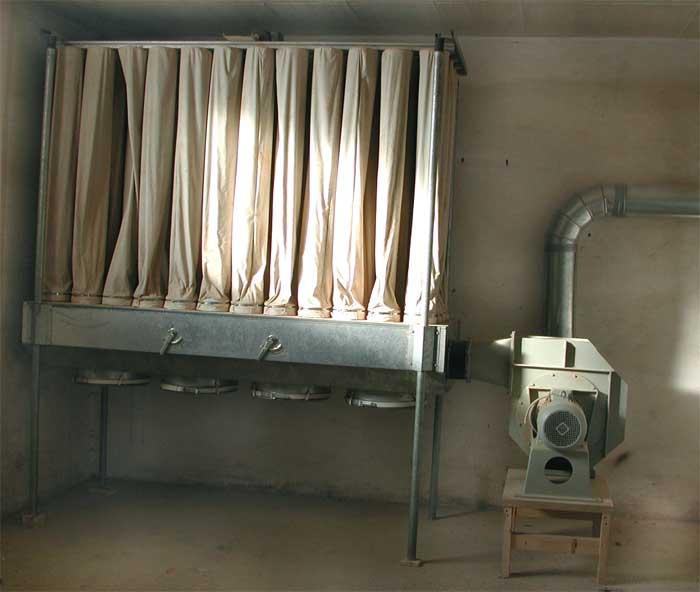 SCHEUCH Komplette Absauganlage, Exhaustor, Filter u. Rohre